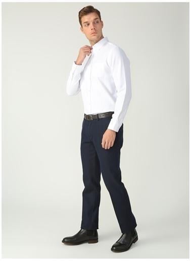 Fabrika Comfort Fabrika Comfort Düğmeli Yaka Armürlü Beyaz Gömlek Beyaz